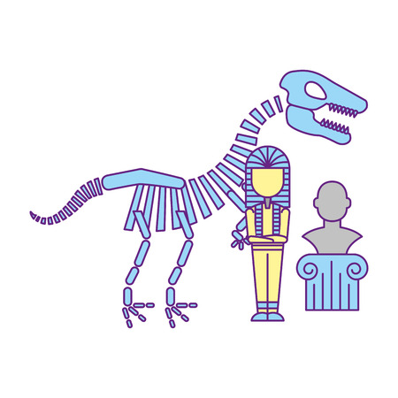 prehistoric dinosaur skeleton pharaoh mummy sculpture exhibition museum vector illustration