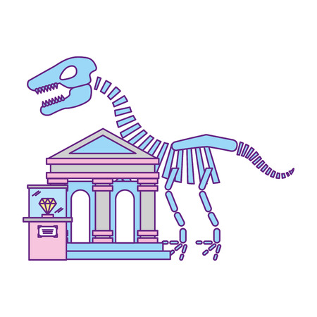 prehistoric dinosaur skeleton diamond exhibition museum vector illustration 向量圖像