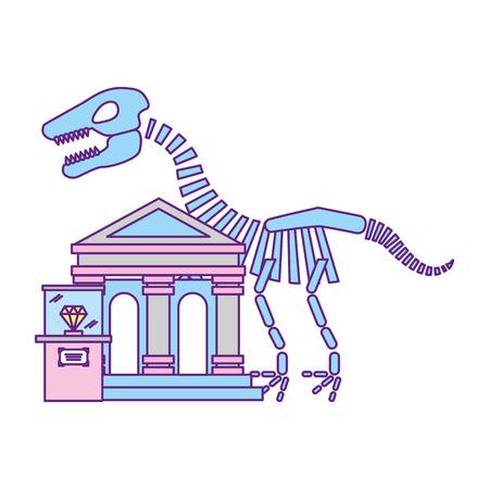 prehistoric dinosaur skeleton diamond exhibition museum vector illustration Illustration