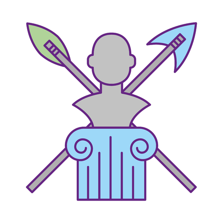 sculpture bust with weapons exhibition museum vector illustration