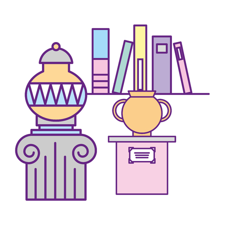 antiques vase on pedestal and books exhibition museum vector illustration Ilustracja