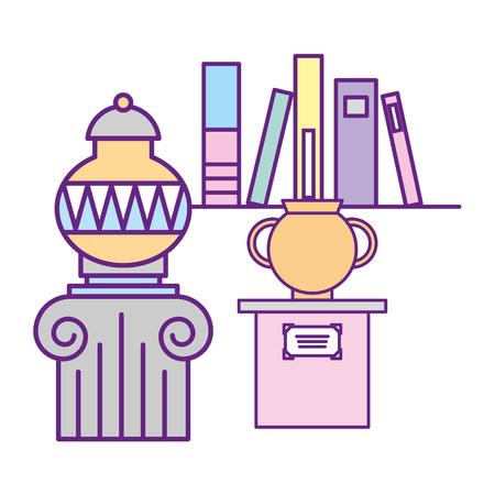 antiques vase on pedestal and books exhibition museum vector illustration Illustration