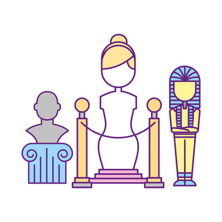 female sculpture pharaoh mummy sculpture bust exhibition museum vector illustration Çizim