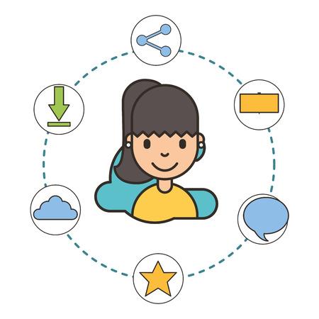 woman cartoon social media icons connection vector illustration