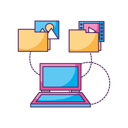 laptop computer folder files photo video data storage vector illustration Illustration