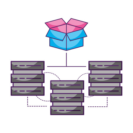 database server center cardboard box data storage vector illustration