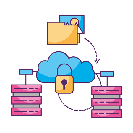 cloud computing security database server vector illustration