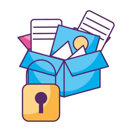 cardboard box security storage files vector illustration