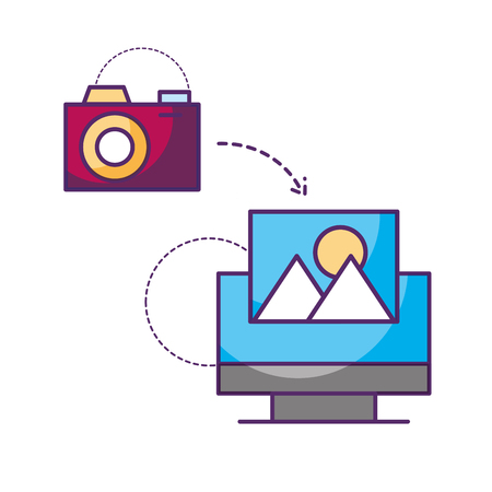 computer camera connection photo data storage vector illustration