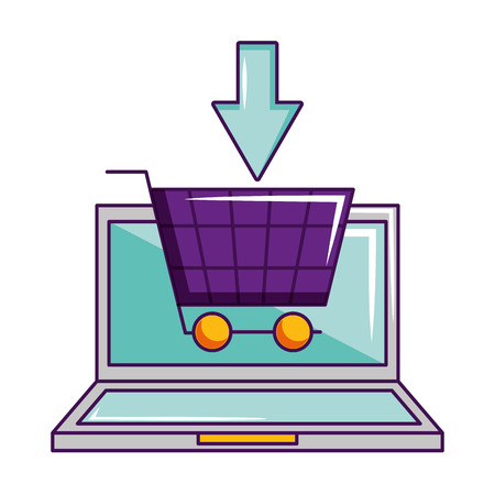 laptop online shopping cart click vector illustration