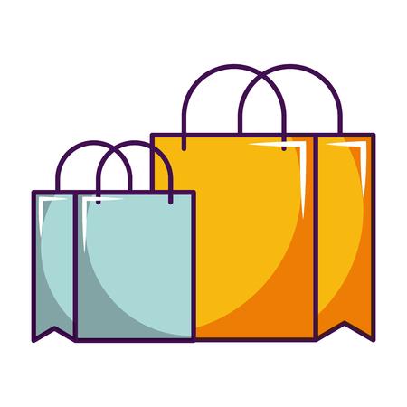 online shopping bags market concept vector illustration