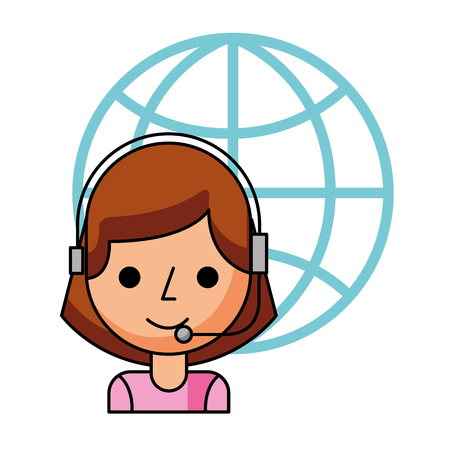 call center girl with headset and world vector illustration 일러스트