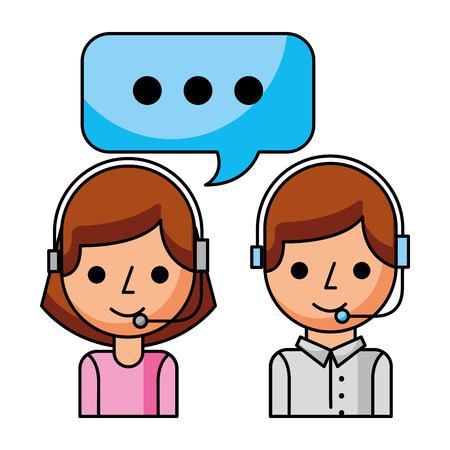 call center girl and boy speech bubble vector illustration Illustration