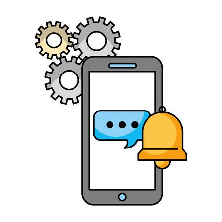 call center smartphone speech bubble bell support vector illustration Stock Illustratie
