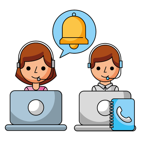 call center girl and boy book address helpline vector illustration