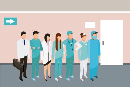 medical people health doctor nurse patients room vector illustration  イラスト・ベクター素材