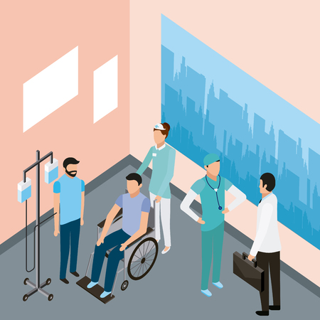 medical people health room patients with stand iv wheelchair doctor vector illustration Ilustração