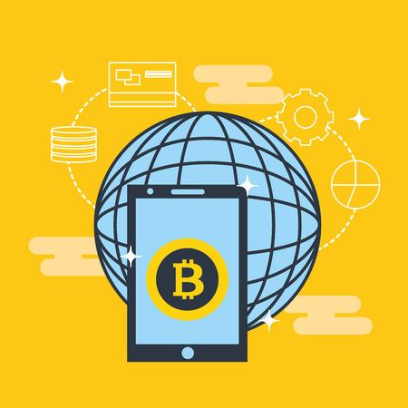 fintech business world technology smartphone screen coin vector illustration