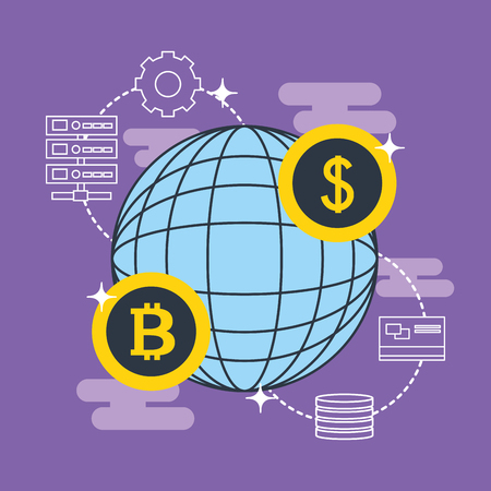 fintech business world connections coins dollar sign money vector illustration
