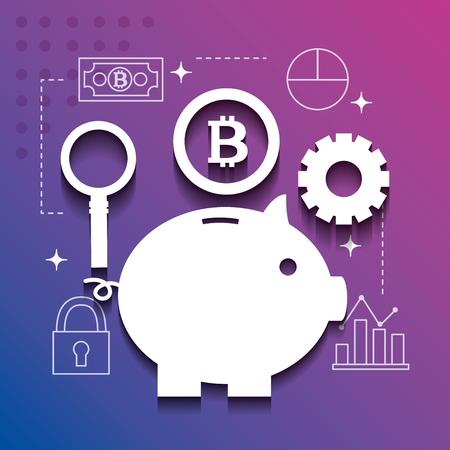 fintech business piggt wheel coin vector illustration