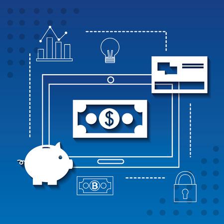 fintech business dollar computer screen credit card piggy vector ilustration