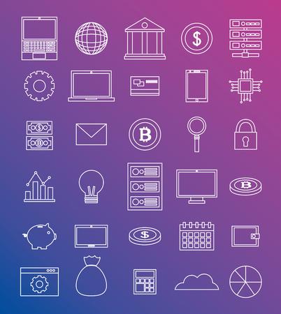 fintech business tools technologys money coins vector illustration Illustration