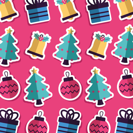 merry christmas balls gift boxes trees background vector illustration