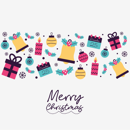 merry christmas snowflakes balls gift boxes candles vector illustration
