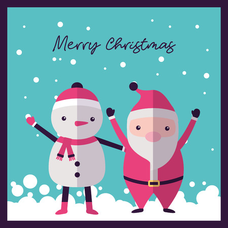 merry christmas santa claus  snowman hands up snow december vector illustration  イラスト・ベクター素材