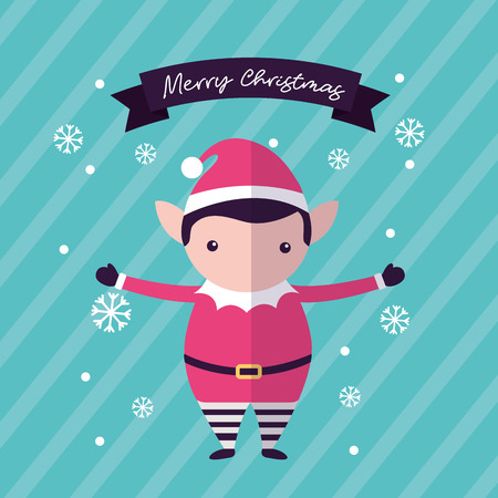 merry christmas elf hands up ribbon sign snowflakes vector illustration  イラスト・ベクター素材