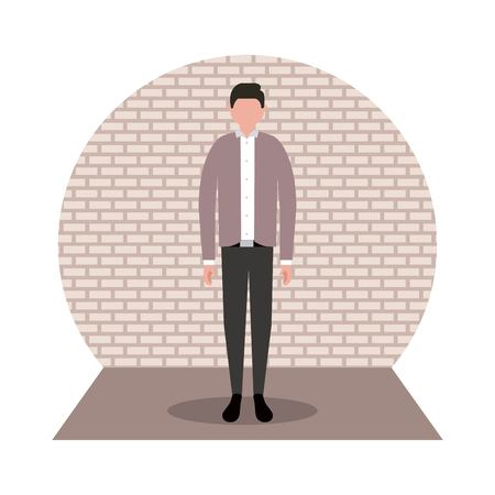 business workspace sticker formal man standing vector illustration Vectores