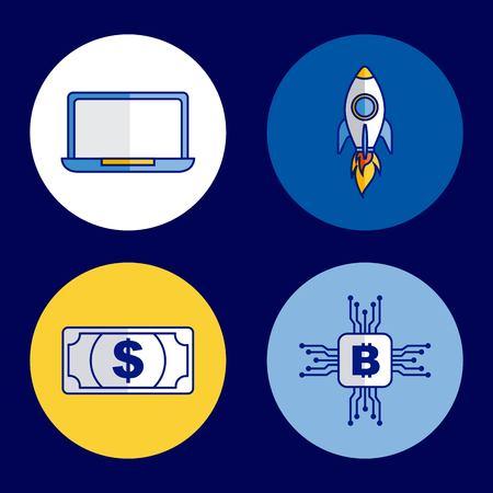 fintech business set laptop rocket bitcoin banknote vector illustration