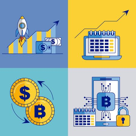 fintech business set bitcoin dollar exchange mobile vector illustration