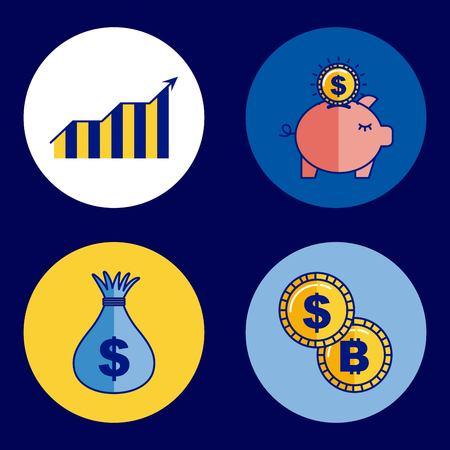 fintech business set piggy bank money bag coins bitcoin vector illustration