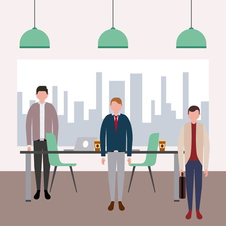 business workspace office picture city mans work vector illustration