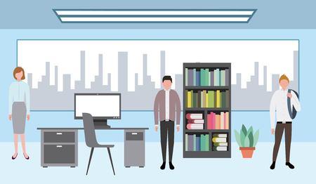 business workspace big office work people vector illustration Standard-Bild - 109139241