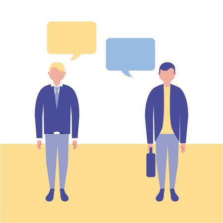 outdoor business mans talking bubbles vector illustration Иллюстрация