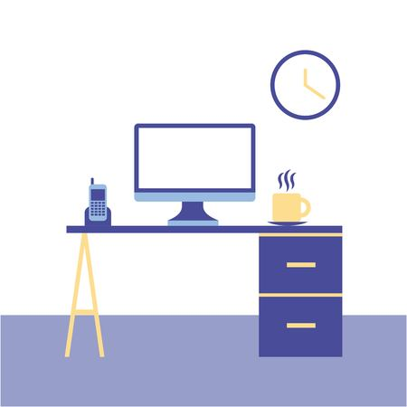 office technology computer desk work vector illustration