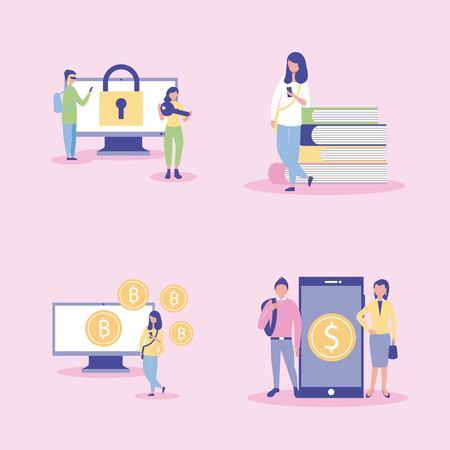 smartphone technology padlock coins sign books vector illustration