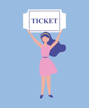 movie cute girl holding ticket entry vector illustration