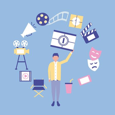 movie production firts scene mask chair soda film camera vector illustration 向量圖像