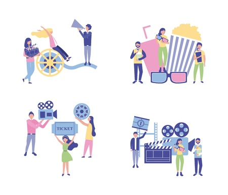 movie production girls and boys holding clapperboard film cameras soda popcorn tapes vector illustration Illustration