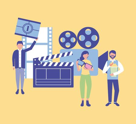 movie production clapperboard film camera card scene one vector illustration