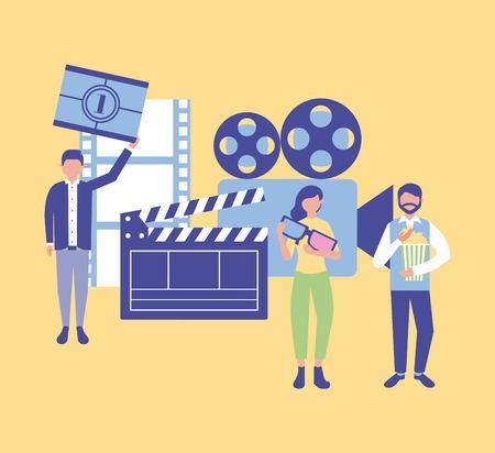 movie production clapperboard film camera card scene one vector illustration