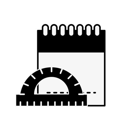 graphic design notepad and protractor measure tool vector illustration monochrome