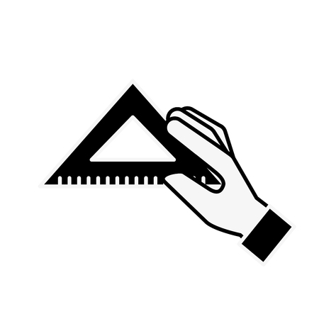 hand holding triangle ruler supply vector illustration monochrome Ilustrace