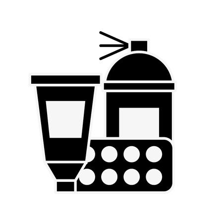 graphic design spray  color tool tube and palette vector illustration monochrome Illustration