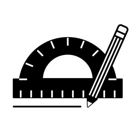 protractor pencil graphic design tools vector illustration monochrome Vetores
