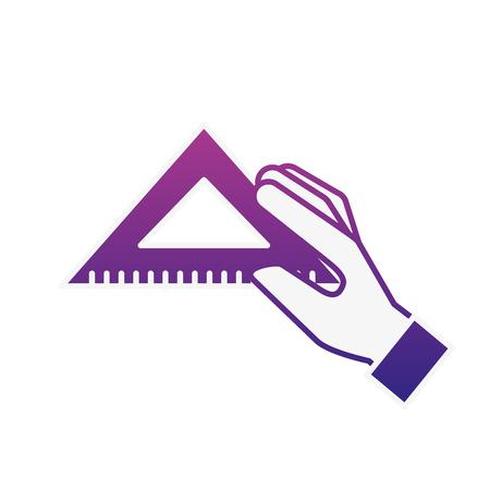 hand holding triangle ruler supply vector illustration neon Banco de Imagens - 109265850