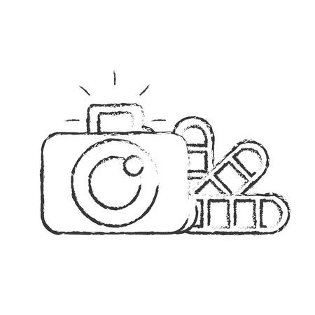 graphic design photographic camera color tone vector illustration hand drawing Illusztráció